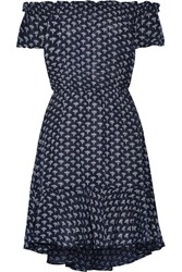Diane Von Furstenberg Santorini Printed Linen And Cotton Blend Gauze Mini Dress Navy