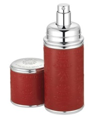 Creed Refillable Leather And Silvertone Pocket Atomizer Red .