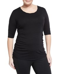 Soybu Plus Violet Side Ruched Tee Black