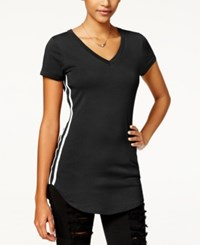 Almost Famous Juniors' Sporty Side Stripe Tunic T Shirt Black White