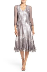 Komarov Women's Ombre Charmeuse A Line Dress And Chiffon Jacket