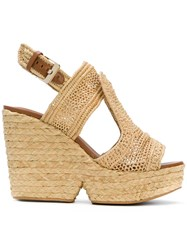 Robert Clergerie Woven Wedge Sandals Nude And Neutrals