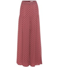 See By Chloe Pleated Polka Dot Crepe Trousers Red
