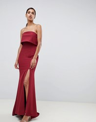 03dd22dc436 Jarlo Bandeau Overlay Maxi Dress With Thigh Split In Berry Red