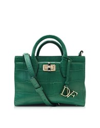 Diane Von Furstenberg Mini Viviana Emerald Embossed Croco Leather Handbag Green