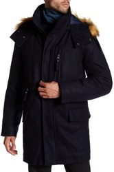 Andrew Marc New York Brewster Faux Fur Trim Hooded Jacket Blue