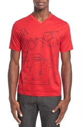 Men's Z Zegna Geo Print Graphic V Neck T Shirt