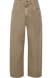 Current Elliott The Pleated Barrel Linen And Cotton Blend Wide Leg Pants Army Green