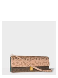Paul Smith Women's Dusty Pink Snakeskin Concertina Clutch Bag Brown