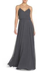 Women's Jenny Yoo 'Inesse' Chiffon V Neck Sleeveless Gown