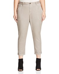Nydj Plus Reese Relaxed Cuffed Crop Chino Pants Silver Elm