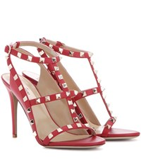 Valentino Rockstud Leather Sandals Red