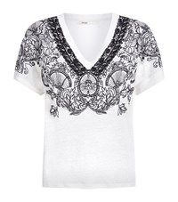 Maje Trust Embroidered Linen T Shirt Female White