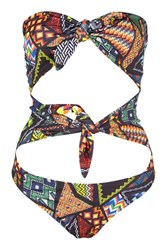 Jaded London Festival Bead Double Bow Swimsuit By Multi