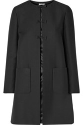 Miu Miu Bow Embellished Wool And Silk Blend Coat Black