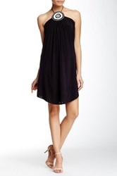 Tbags Halter Neck Beaded Front Swing Dress Black