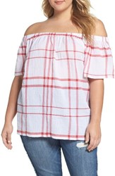Vince Camuto Plus Size Women's Timeless Plaid Off The Shoulder Blouse Aurora Red