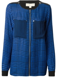 Michael Michael Kors Houndstooth Print Blouse Blue