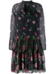 Red Valentino Floral Ruched Mini Dress Black