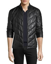 Emporio Armani Zip Front Chevron Quilted Lamb Leather Jacket Black