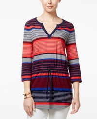 Tommy Hilfiger Camilla Smocked Striped Tunic Sonoma Red Multi