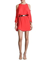 Halston Cold Shoulder Flutter Sleeve Dress Coral