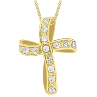 Ibb 9Ct Gold Twisted Cubic Zirconia Cross Pendant Gold