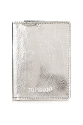 Topshop Pawly Metal Oyster Card Holder Silver
