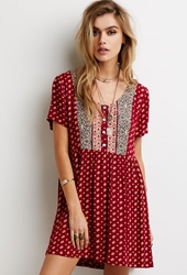 Forever 21 Abstract Floral Print Babydoll Dress Red Navy