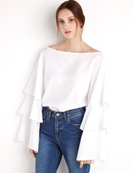 Pixie Market White Ruffled Tier Top By New Revival