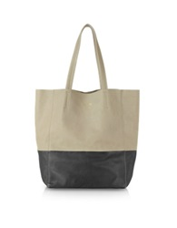 Le Parmentier Large Color Block Nappa Leather Tote Black Taupe
