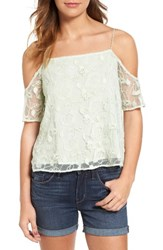Hinge Women's Embroidered Mesh Off The Shoulder Top
