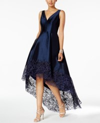 Betsy And Adam Lace Trim High Low Gown Navy Navy