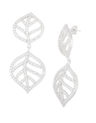 Lord And Taylor Sterling Silver Open Leaf Pave Earrings