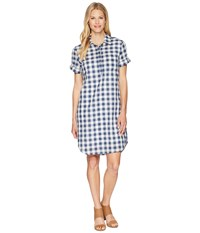 Tribal Gingham Shirtdress With Pocket And Roll Up Sleeve Deep Sky Blue