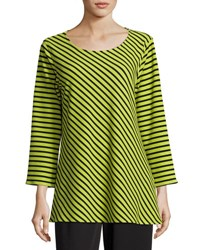 Caroline Rose Textured Striped Knit Tunic Green Black