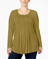 Styleandco. Style Co. Plus Size Pintucked Henley Top Only At Macy's Olive Moss