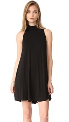 Enza Costa Mock Neck Mini Swing Dress Black