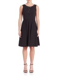 Sue Wong Sleeveless Beaded Fit And Flare Dress Black