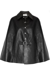 Saint Laurent Belted Leather Cape Black