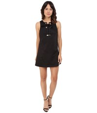 Jessica Simpson Solid Cotton Satin Dress With Front Bow Js6d8560 Black
