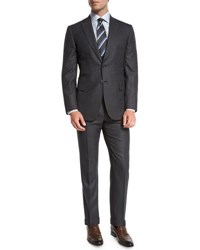 Brioni Box Check Two Piece Suit Gray