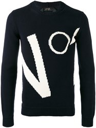 N 21 No21 Brand Motif Jumper Men Cotton Xs Blue