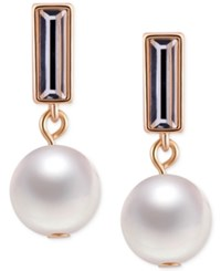 T Tahari Gold Tone Crystal And Faux Pearl Drop Earrings