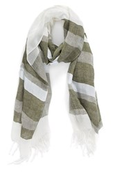Women's Caslon Cross Dye Stripe Linen Blend Scarf