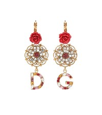 Dolce And Gabbana Crystal Resin Floral Earrings Gold