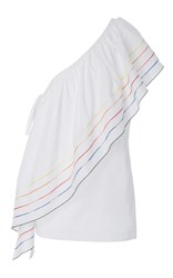 Rosie Assoulin Wedge Top With Rainbow Marrow White