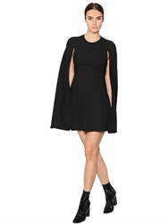 Valentino Wool Sable Cape Dress