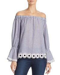 T Tahari Delphine Embroidered Off The Shoulder Blouse Navy White
