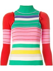 John Galliano Vintage Removable Sleeves Knitted Blouse Multicolour